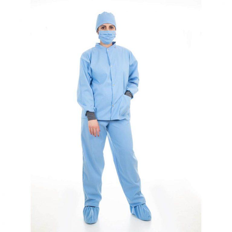 Tenu médicale en tissu - Ensemble complet - Couleur bleu
